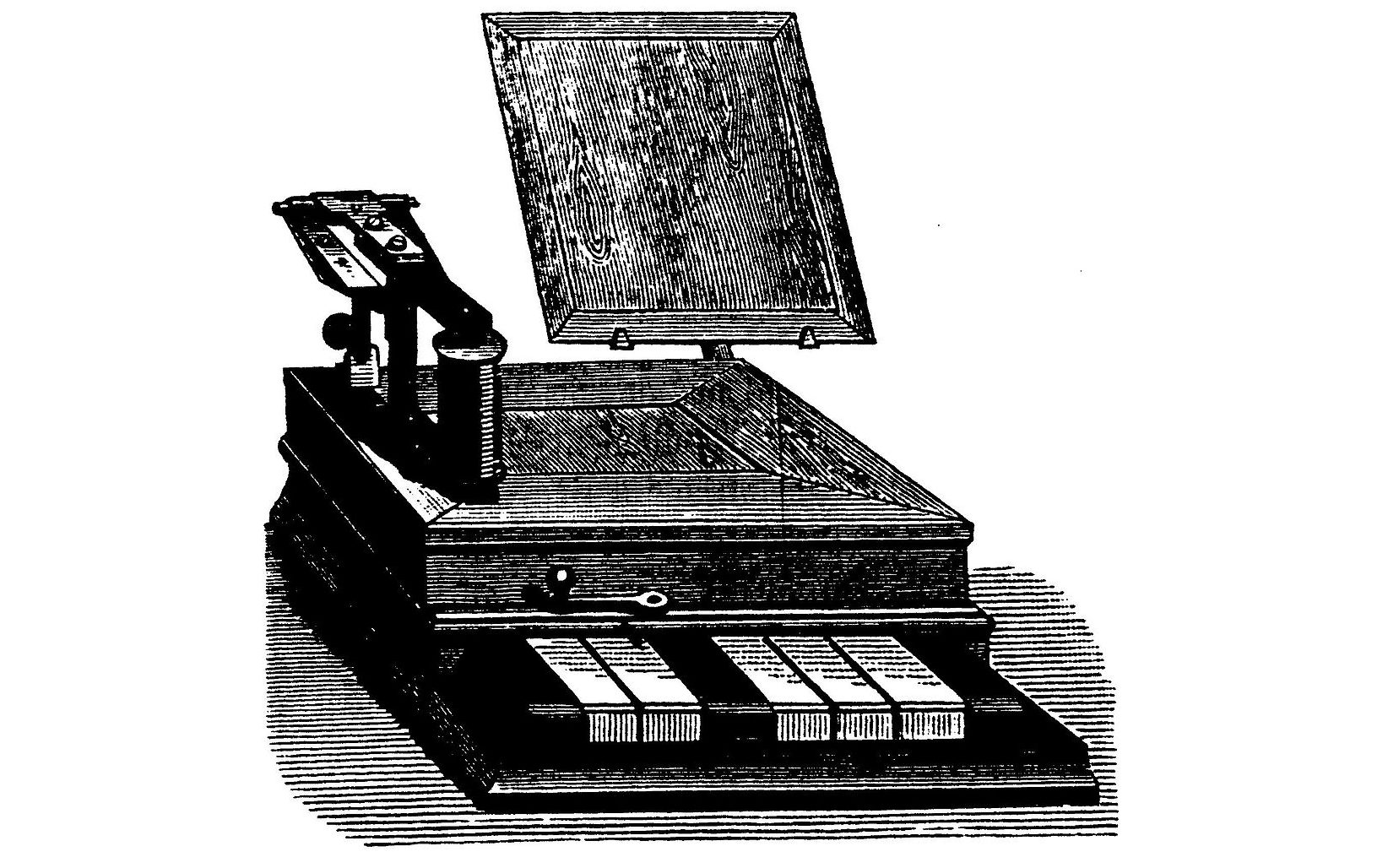A picture of electric telegraph equipment sent from London for demonstration at the 1846 conversazione