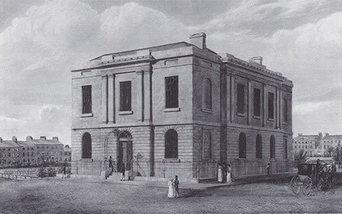 A picture of the Philosophical Hall, fronting Bond Street, Leeds, on the corner with Park Row, 1821.