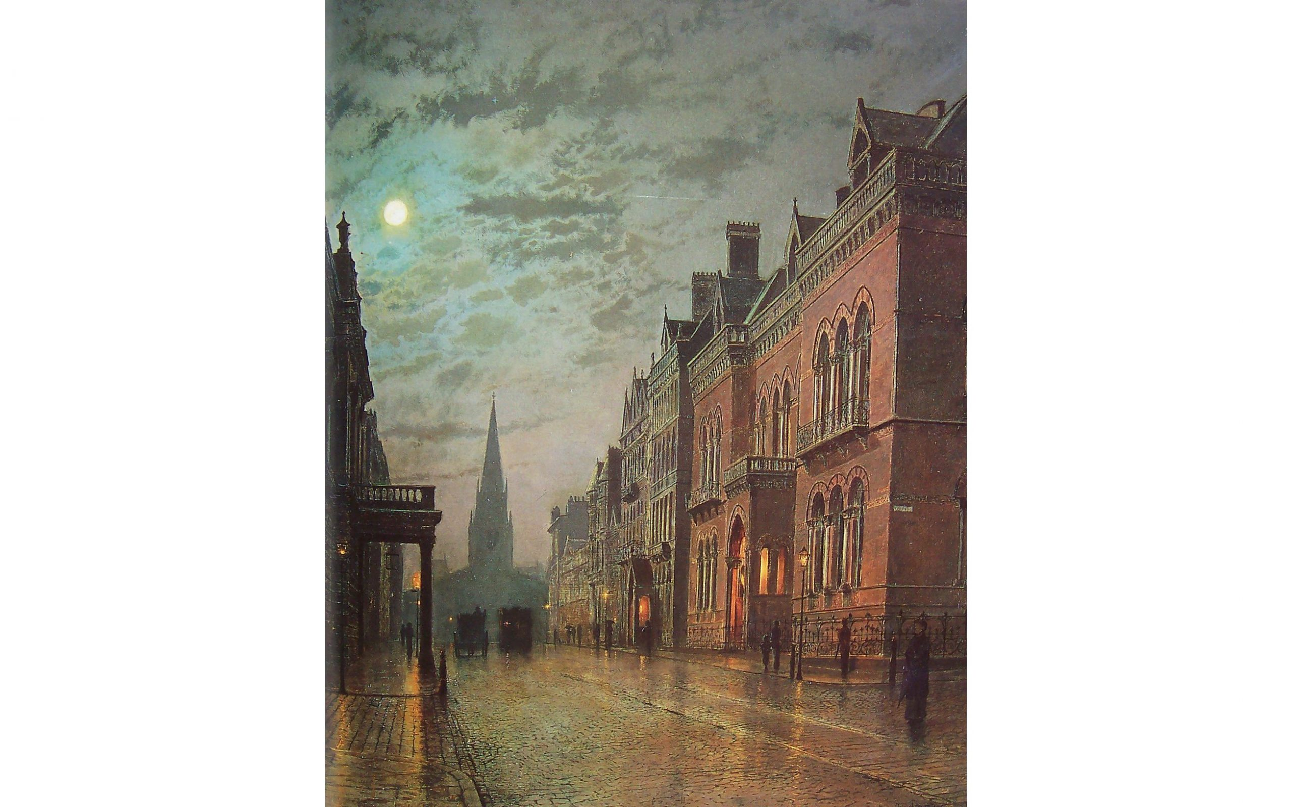 'Park Row, 1882' by Leeds artist John Atkinson Grimshaw (1836-1893). The new portico of Philosophical Hall is on the left – the west side of the street. ©Leeds Art Gallery