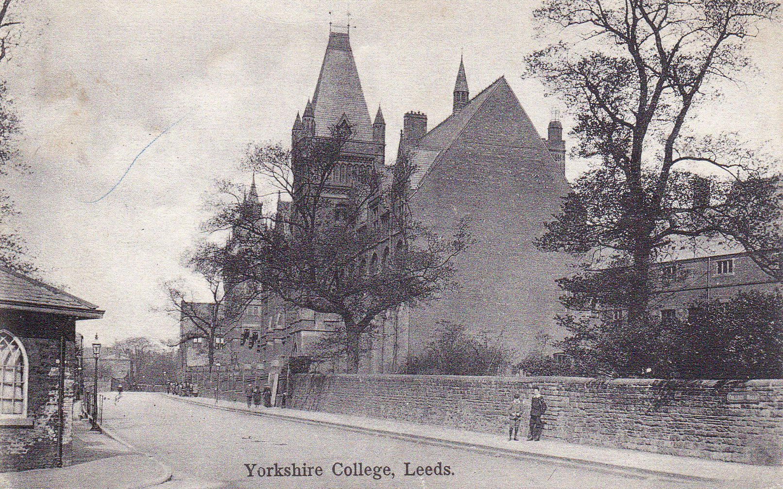 A black and white picture of the Yorkshire College opened in buildings in Cookridge Street, but moved to new purpose-built premises in the 1880s.