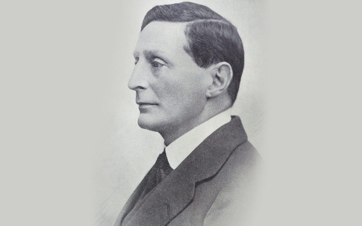 A black and white picture of Col. Edwin Kitson-Clark. A portrait taken from th side.