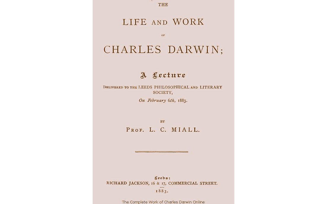 A pale pink front cover titled 'The Life and Work of Charles Darwin'.