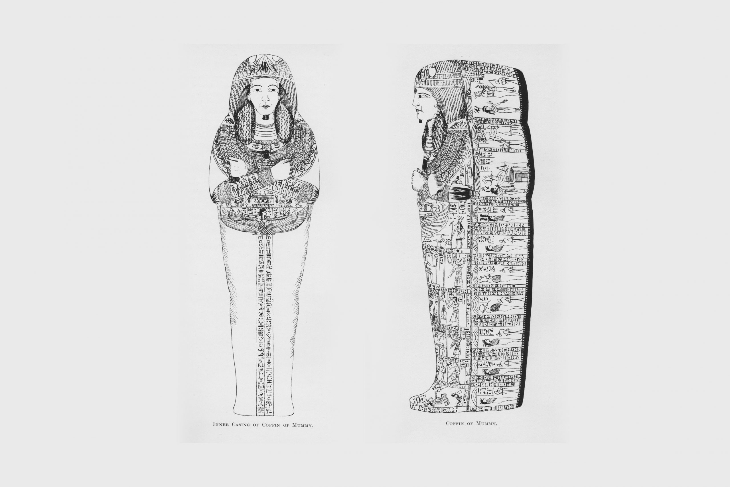 A greyscale picture of the Mummy of the priest Nesyamun. Showing a front view and side view.