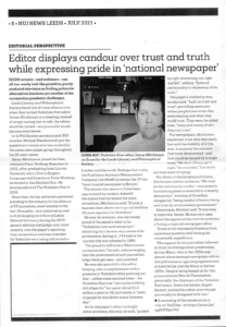 Page from NUJ News July 2021 with summary of James Mitchinson's conversation with Michael Meadowcroft