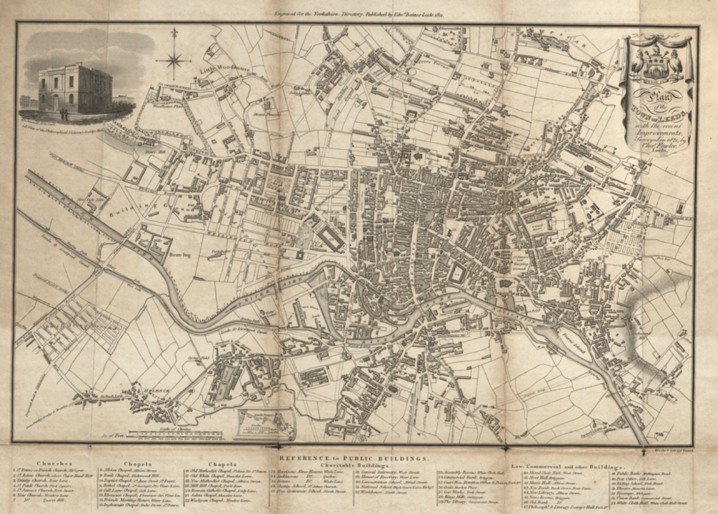 Historic map of Leeds 1821 with inset drawing of Leeds Philosophical Hall
