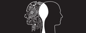 Graphic: head with computer-like motifs inside and linked to a silhouette head